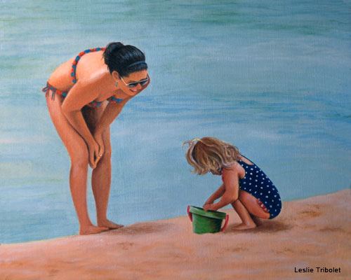 Playtime in Hanalei by Leslie Tribolet