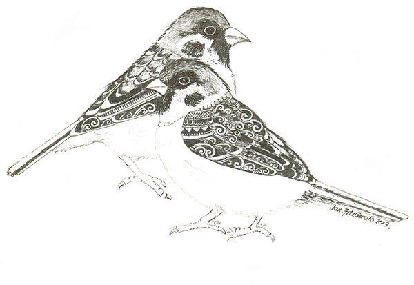Winter Chums - Sparrows by Jan FitzGerald