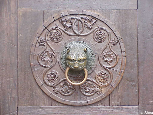 Medieval church knocker in Augsburg Germany by Lisa Shea
