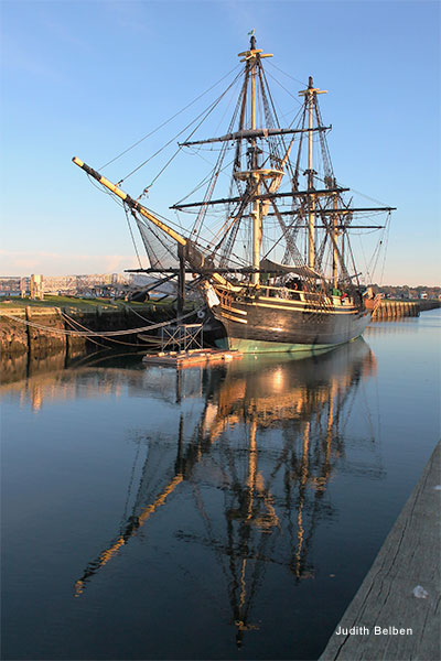 Ship in Salem Harbor by Judith Belben